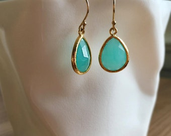 Turquoise Earrings Gold Filled Dangle Earrings Modern Chic Everyday Wear Jewelry Aqua Blue Bridesmaids Gift Jewellery