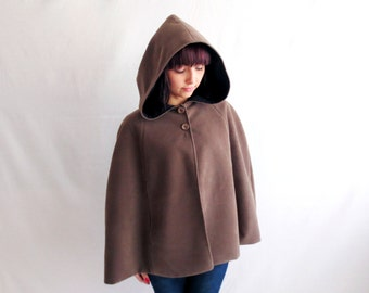 Hooded cape, taupe cape, wool cape, fall fashion, women cape, hooded cloak, brown cape, maternity clothes, poncho