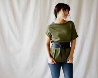 Green asymmetrical tshirt, Short sleeve sweater, Green sweater, Oversized top, Knit top, Knit tunic, Womens clothing, Asymmetrical sweater