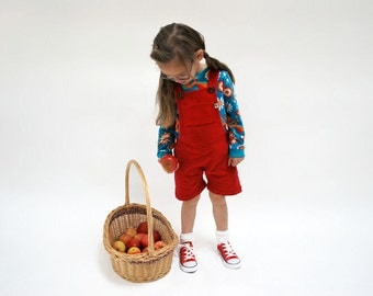 Kids dungaree shorts red cotton corduroy outfit bright berry girls boys short all in one babies summer spring childrens funky play clothes