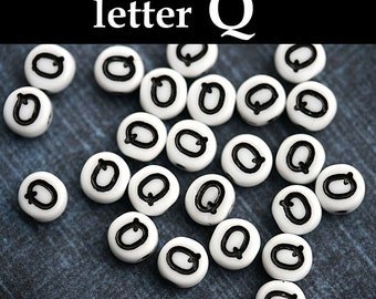 Alphabet Beads - letter Q - white with black inlay, czech glass Letter beads, personalized, 6mm - 25pc - 2454