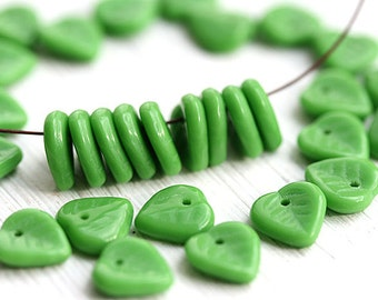 Heart shaped green leaves, leaf beads, pressed Czech glass beads, petals - 9mm - 30Pc - 1056