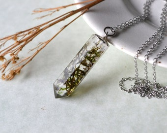 Real Moss Eco Resin Prism Crystal Pendant