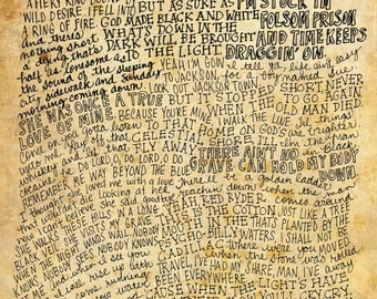 Johnny Cash Lyrics and Quotes - 8x10 handdrawn and handlettered print on antiqued paper rock music lyrics