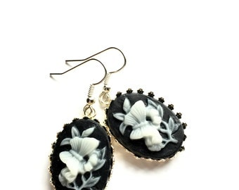 Black and White Cameo Earrings, Carved, Butterfly, Flower, Oval, Antique Style, Art Nouveau, Dangle and Drop