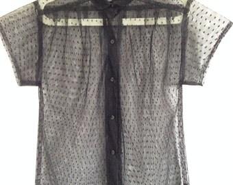 Vintage Black  netting Sheer Top Size 10