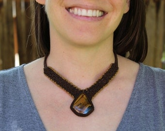 Micro Macrame Necklace w/ All Natural Tiger's Eye Stone Cabochon