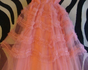 CORAL PINK TULLE strapless party prom dress vintage 50's 60's S