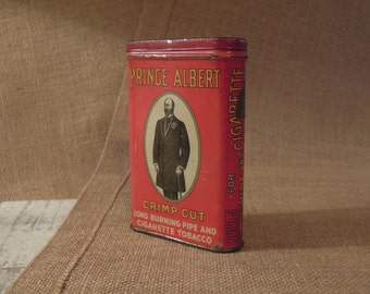 Vintage / Antique Prince Albert Tin / Prince Albert Tin / Country Farmhouse Tin / Tobacco Tin / Rustic Mini Storage / Collectible Tin