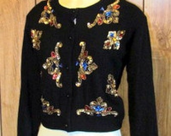 JEWELED Sequin BEADED Vintage SWEATER