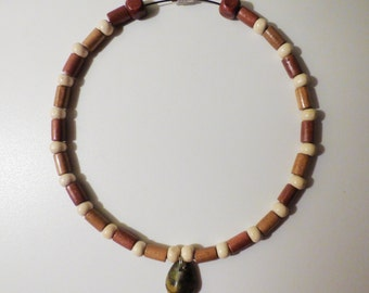 Bamboo Jasper Pendant Earth-tones Necklace