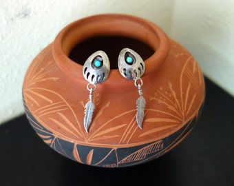 Vintage Indian Navajo Shadow Box Bear Claw Feather  Sterling Silver Turquoise Dangle Pierced Earrings