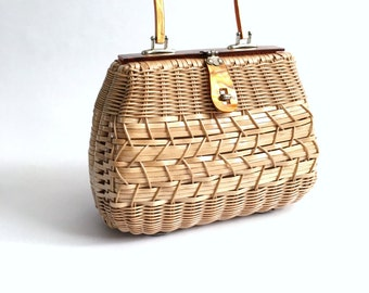 Vintage Mister Ernest Simon Woven Wicker and Lucite Handbag Purse  Hong Kong 1950's 1960s