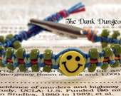 Rainbow Hemp Smiley Face Bracelet, Hemp Roach Clip, Smiley Face Bracelet, Hippie Bracelet, Rainbow Bracelet, Macrame Hemp Roach Clip Jewelry