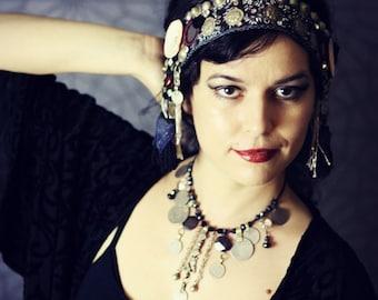 Tribal Fusion Headdress- Navy and Burgundy Sari Trim Conus Shell Uzbek Tassel Boho Headpiece