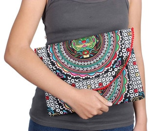 Boho Clutch With Embroidered Fabric Handmade Thailand (BG7385-57C20)