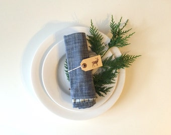 Set of two napkins, Chambray Linen with windowpane reverse side. Perfect for dining, eco-friendly. Perfect Holiday Gift!