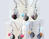 Black Onyx, Silver Leaf & Semi Precious Bead Dangle Earrings, Handmade Original Fashion Jewelry, Petite Colorful Simple Elegant Ladies Gift