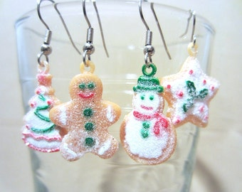 Sparkling Christmas Cookie Character Earrings, Holiday Gift Christmas Jewelry, Handmade Original Fashion Jewelry, Cute Fun Playful Gift Idea