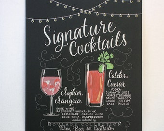 "Signature drink menu, 15""x20"" art board, chalkboard style custom ink drawing"