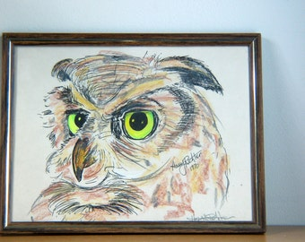 Vintage 1970s Owl Artwork Signed Illustration Harry Richter 1970