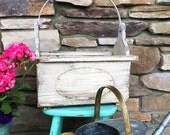 Rustic Planter Box  / Large White Tote / Country Garden / White Distressed /  Garden Tote Box / Rustic Tote / Patio Planter / Porch Planter