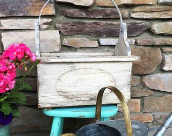 Vintage Planter Tote Box / Large Flower Box