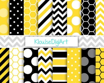 Yellow and Black Bumble Bee Printable Digital Paper Pack with Honeycombs, Stripes and Dots for Personal and Small Commercial Use (0018)