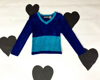 90s Blue Chenille Two Toned Monochromatic Cropped Sweater / Metallic / Teal / Fuzzy / Club Kid / Small / Cyber Goth / Sad Girl / Vaporwave /
