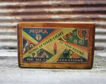 Antique Wood Crate Refinished NOMA Christmas Lights Halloween Decorations 1929 Paper Label Delivery Crate Wooden Storage  Box Wood Vintage