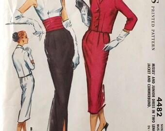 "Vintage 1958 McCall's Misses' Dress Jacket Cummerbund Pattern 4482 Size 13 (33"" Bust)"