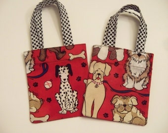 Gift card holder - Dalmatian Dog Print -  Mini Fabric Tote Bag  - Dog Lovers