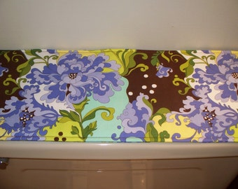 Toilet Tank Topper - Tablerunner - Large Floral  - Blues Browns and Greens - 8 x 20 - Reversible