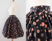 1950s Daisy Cotton Novelty Skirt // 50s 60s Floral Full Skirt