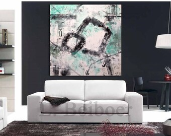 Big Abstract Painting original large art 48 x 48 green black white painting abstract wall art contemporary acrylic painting by L.Beiboer