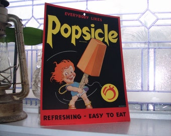 Vintage 1930s Popsicle Sign Cardboard Sign Unused Advertising