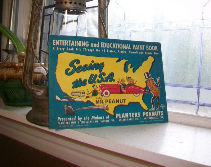 1950 Planters Peanuts Seeing The USA Paint Book with Original Envelope Vintage US States Book
