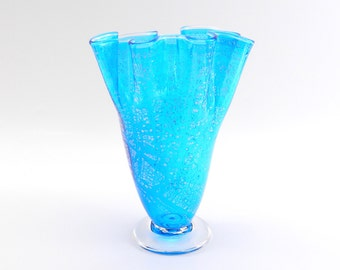 Hand Blown Aqua Blue Glass Vase