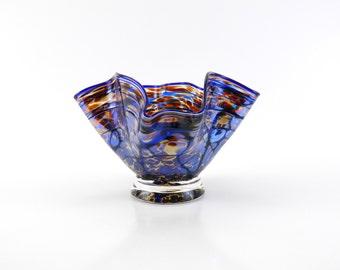 Gold Amber Blown Glass Bowl