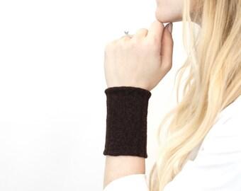 Brown Wrist Cuff Bracelet, Stretch Fabric Arm Band, Sleeve Extender, Wide Armband Wristband, Sweat Band Yoga Bracelet Wrist Tattoo Cover Up