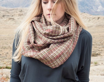 Plaid Infinity Scarf, Tweed Circle, Woven Tartan Scarves, Womens, Gift for Her Wife Girlfriend Mom, Unique Style, Woven, Tan Fashion Boho