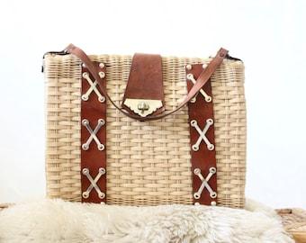 damaged basket handbag / 1960's
