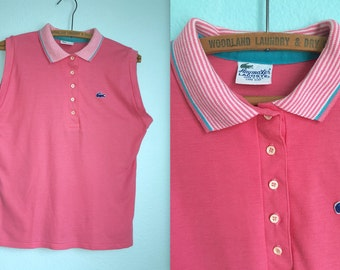 Vintage Haymaker Lacoste pink sleeveless polo / women's medium to large