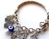 Hamsa Charm Bracelet Ultimate Evil Eye and Hamsa Hand Protection Charm Bracelet Turkish Silver Charm Bracelet