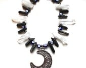 Evil Eye Moon Necklace Inspired by Night Moon Necklace Crystal Quartz Necklace with Evil Eyes and Cultured Pearls Statement Necklace