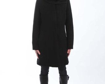 "Black Wool Scarf - 26.5"" x 8"" BIG with a Snap Closure"