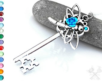 Custom Dragonfly Key / Key to my Heart Necklace / Skeleton Key Necklace / Best Gifts for Women / Fantasy Key Necklace / Dragonfly Necklace