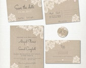 """Wedding Invitation, Save the Date Postcard, Lace and Linen, RSVP, 2"""" label kit set, Print at home, Classic, Vintage, Rustic, Romantic"""