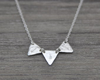 Triangle Initial Necklace - Three Sterling Silver Triangle Letters - Bunting Necklace - Layering Jewelry