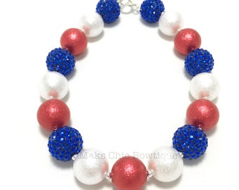 TODDLER Girl Red, White and Blue Chunky Necklace, Kids Fourth of July Shimmer Pearl Necklace, Patriotic chunky necklace, 4th of July